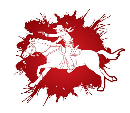 カウボーイが馬に乗ってスプラッタ血液バック グラウンド グラフィック ベクトルに設計された銃を目指して