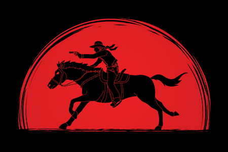 Cowboy riding horse,aiming a gun designed on sunlight background graphic vector Illustration