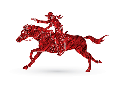 Cowboy riding a horse, aiming a gun designed using grunge brush graphic vector