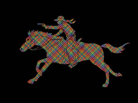 Cowboy riding horse,aiming a gun designed using colorful pixels graphic vector