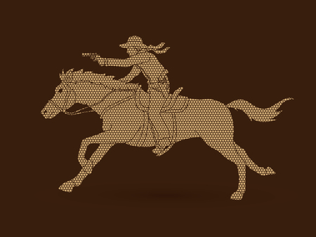 Cowboy riding a horse, aiming a gun designed using geometric pattern graphic vector