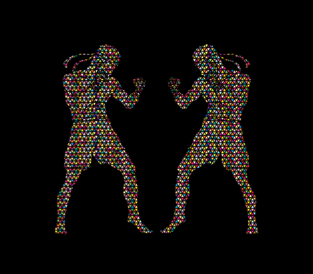 Muay Thai, Thai boxing standing ready to fight action designed using colorful mosaic graphic vector