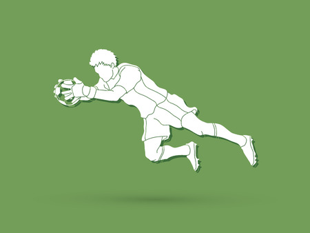 Goalkeeper jumping action, catches the ball graphic vector.