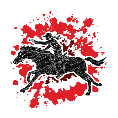 Cowboy riding horse,aiming a gun designed on splatter blood background graphic vector