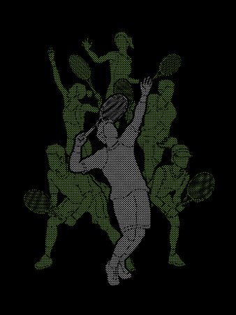 Tennis players , Men and Women action designed using dots pixels graphic vector.