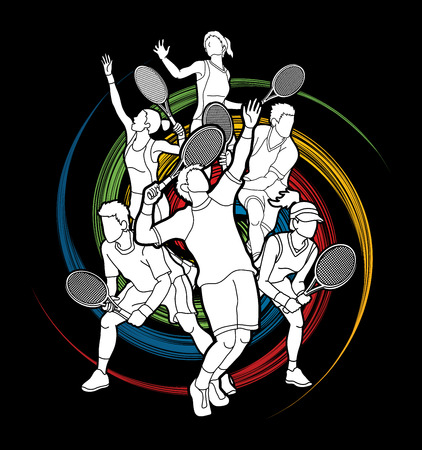 Tennis players , Men and Women action designed on spin wheel background graphic vector.