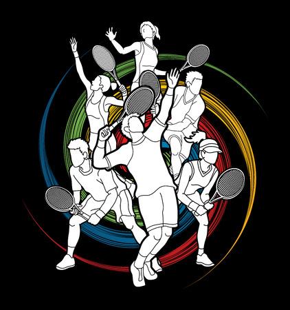 Gracz w tenisa, mężczyzna i kobiety akcja projektująca na spinowym koła tła grafiki wektorze. Ilustracje wektorowe