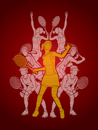 Tennis players , Women action designed using geometric pattern graphic vector. Illustration