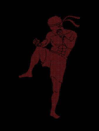 Muay Thai, Thai boxing standing ready to fight action designed using red dots pixels graphic vector Illustration