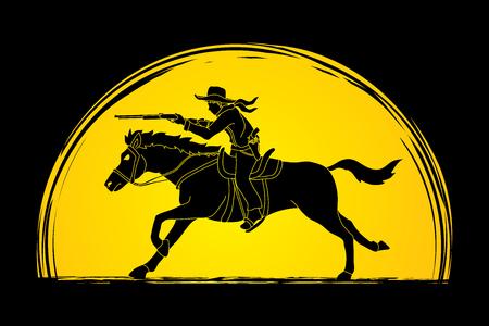 カウボーイの馬に、ライフルを目指して月光背景グラフィック ベクトルに設計されています。