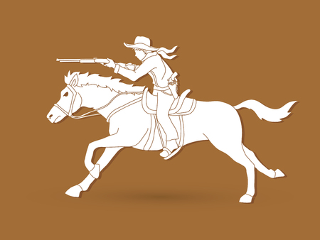 Cowboy on horse, aiming rifle graphic vector.
