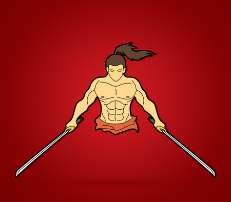 Samurai standing with swords front view graphic illustration.