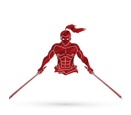 Samurai using grunge brush graphic. Illustration