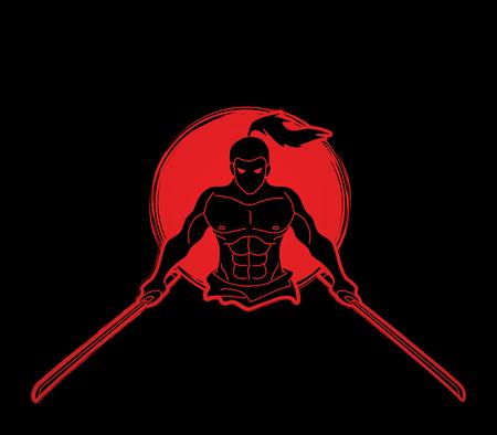 Samurai standing with swords front view designed on sunlight over black illustration.