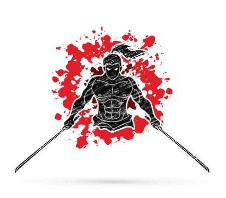 Samurai standing with swords front view designed. Ilustração