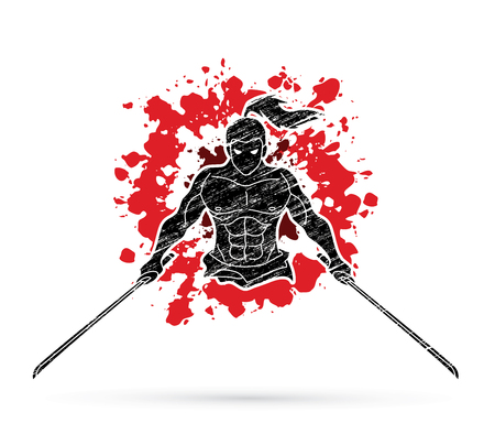 Samurai standing with swords front view designed. Illustration