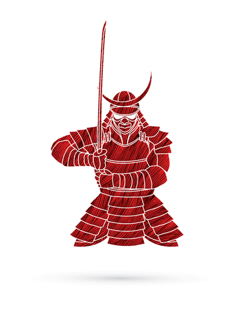 Samurai standing front view ready to fight designed using red grunge brush graphic vector. Illustration