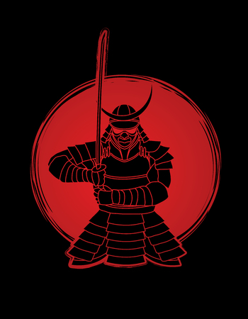 Samurai standing front view ready to fight designed on sunlight background graphic vector. Zdjęcie Seryjne - 91007162