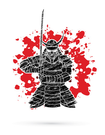 Samurai standing front view ready to fight designed on splatter blood background graphic vector. Ilustracja