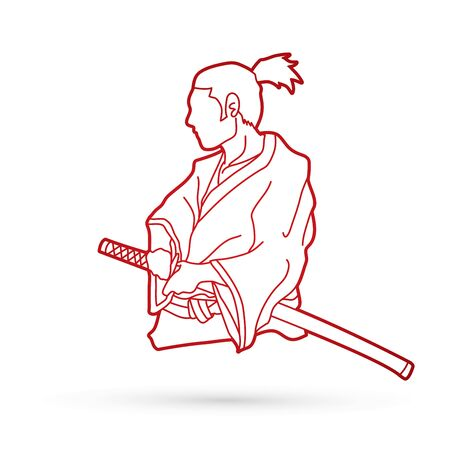 Samurai ready to fight action outline graphic vector Illustration