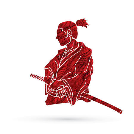 Samurai ready to fight action designed using grunge brush graphic vector
