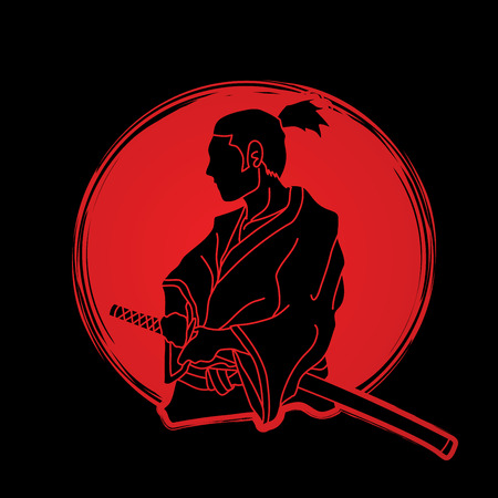 Samurai ready to fight action designed on sunlight background graphic vector