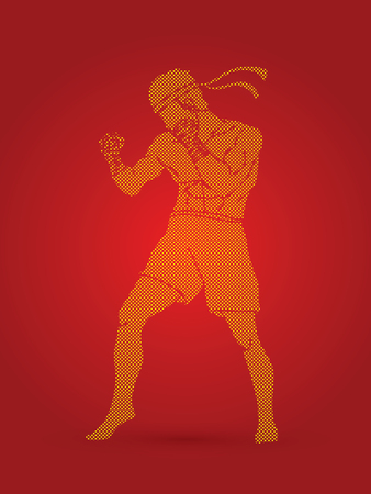 Muay Thai, Thai boxing standing ready to fight graphic vector