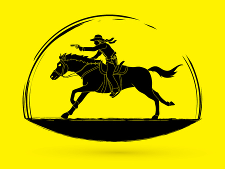 Cowboy riding horse,aiming a gun  graphic vector Illustration