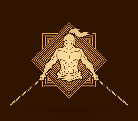 Angry Samurai standing with swords front view designed on line square background graphic vector. Illustration