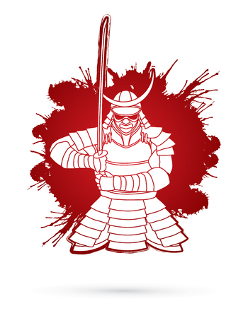 Samurai standing front view ready to fight designed on splatter blood background graphic vector. Illustration