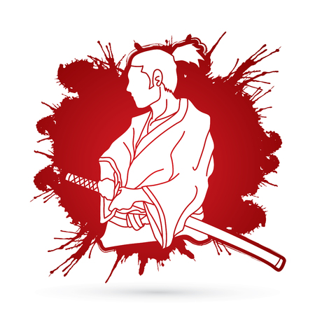Samurai ready to fight action designed on splatter blood background graphic vector