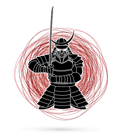 Samurai standing front view ready to fight designed on confuse line background graphic vector. Illustration