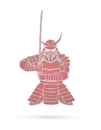 Samurai standing front view ready to fight designed using geometric pattern graphic vector. Illustration