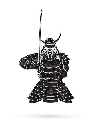 Samurai staande vooraanzicht klaar om te vechten ontworpen met behulp van zwarte grunge brush grafische vector. Stock Illustratie