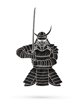 Samurai standing front view ready to fight designed using black grunge brush graphic vector.