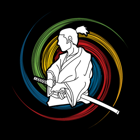 Samurai ready to fight action designed on spin wheel background graphic vector