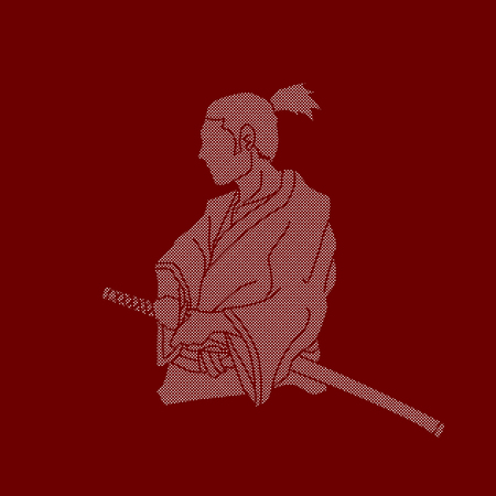 Samurai ready to fight action designed using dots pixels graphic vector