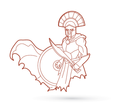 Angry Spartan warrior with Sword and shield outline graphic vector.