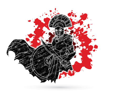 Angry Spartan warrior with Sword and shield designed on splatter blood background graphic vector. Stock Illustratie