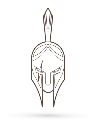 Roman or Greek Helmet , Spartan Helmet, Angry Warrior face outline graphic vector