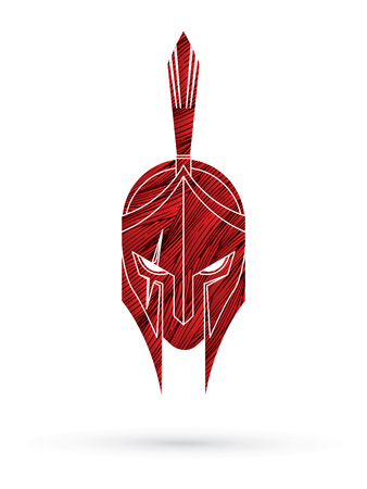 Roman or Greek Helmet , Spartan Helmet, Angry Warrior face designed using grunge brush graphic vector