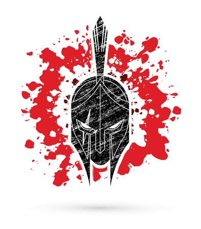 Roman or Greek Helmet , Spartan Helmet, Angry Warrior face designed on splatter blood background graphic vector