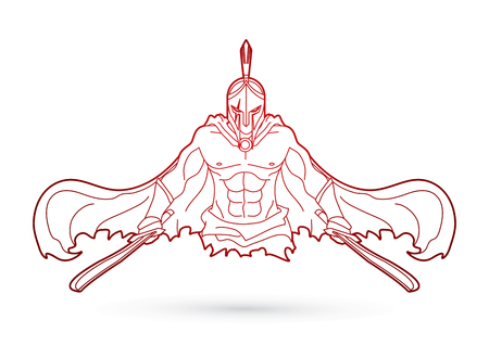 剣概要グラフィック ベクトルと怒っている戦士。