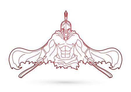 Verärgerter spartanischer Krieger mit Klingen umreißen grafischen Vektor. Standard-Bild - 91443271