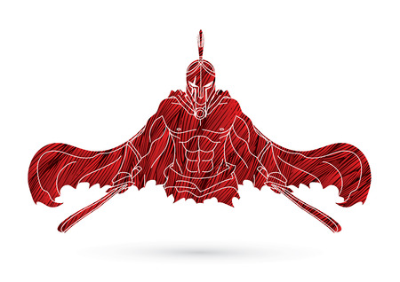 Angry Spartan warrior with Swords designed using grunge brush graphic vector. 일러스트