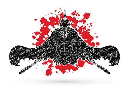 スプラッタ血の背景グラフィックベクトルに設計された剣を持つ怒っているスパルタの戦士。