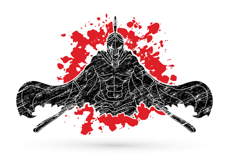 Angry Spartan warrior with Swords designed on splatter blood background graphic vector.