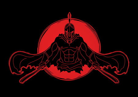 Angry Spartan warrior with Swords designed on sunlight background graphic vector.