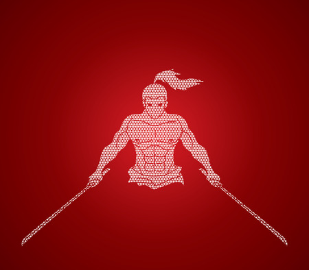 Angry Samurai standing with swords front view designed using geometric pattern graphic vector.