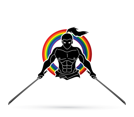 Angry Samurai standing with swords front view designed on line rainbows graphic vector.